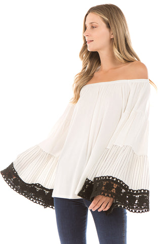 LYDIA BELL SLEEVE TOP (Ivory)- VT2289