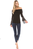 CLARA BELL SLEEVE TOP (BLACK)- VT2291