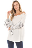 CLARA BUBBLE SLEEVE TOP (IVORY)- VT2292