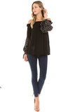 CLARA BUBBLE SLEEVE TOP (BLACK)- VT2292