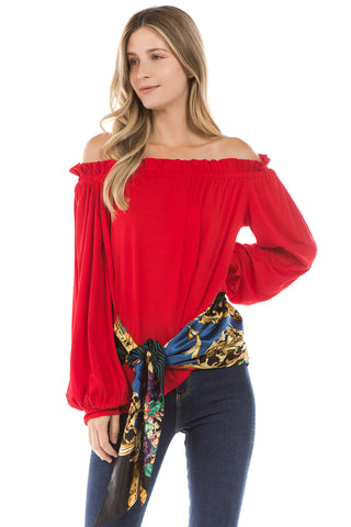 KAIA RIBBON BAND TOP (Red)- VT2296