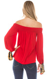 KAIA OFF SHOULDER TOP (RED)- VT2297