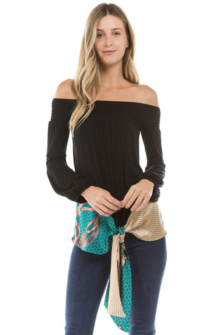 ZELDA OFF SHOULDER TOP (BLACK)- VT2301