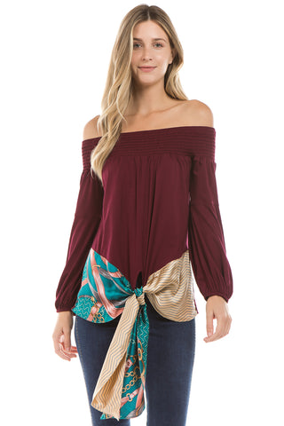 ZELDA OFF SHOULDER TOP (Wine)- VT2301