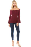 LOLA BELL SLEEVE TOP (DARK WINE)-VT2337S