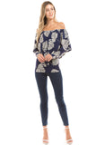 LUCIA CONVERTIBLE LONG SLEEVE TOP (Navy) - VT2359
