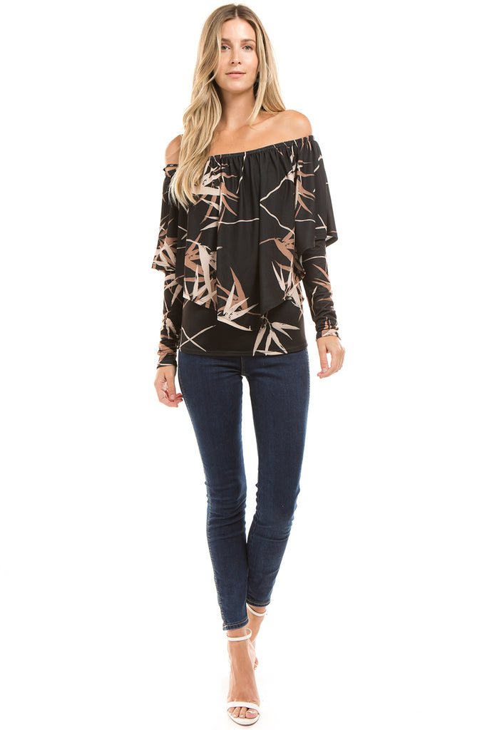 BAMBOO OFF SHOULDER TOP (BLACK)-VT2369