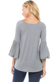 SASKIA BUBBLE SLEEVE TOP (GREY)-VT2381