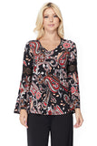 ROCCO BELL SLEEVE TOP (BLACK MULTI)- VT2395-ROCCO