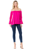 BEYONCE OFF SHOULDER TOP (FUSCHIA)-VT2396