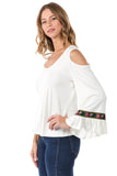 CONSTANCE OPEN SHOULDR TOP (IVORY)- VT2399T