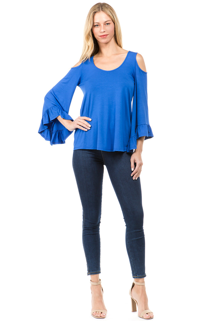 CONSTANCE OPEN SHOULDR TOP (ROYAL BLUE)- VT2399