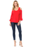 CONSTANCE OPEN SHOULDR TOP (RED)- VT2399