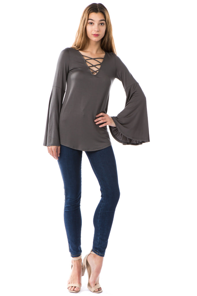 BEYONCE BELL SLEEVE TOP (CHARCOAL)- VT2404