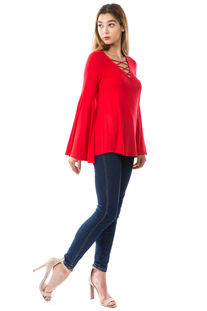 BEYONCE BELL SLEEVE TOP (RED)- VT2404