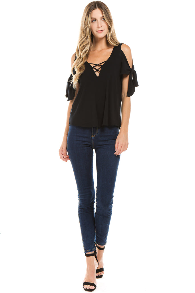 BEYONCE OPEN SHOUDLER TOP (BLACK)-VT2405
