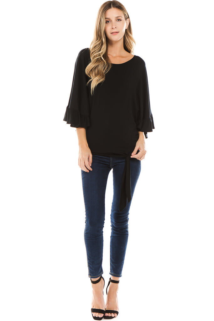 BEYONCE FRONT TIE TOP (BLACK)- VT2407