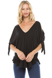 BEYONCE OPEN SHOULDER TOP (BLACK)-VT2409