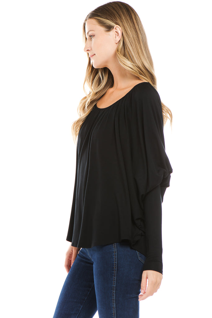 BEYONCE LONG SLEEVE TOP (BLACK)- VT2410G