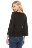 CROSELLA TIERED SLEEVE TOP (BLACK)-VT2415