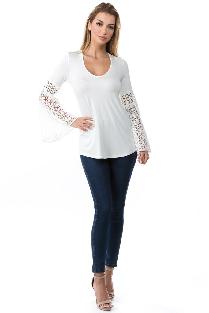 KINSEY BELL SLEEVE TOP(IVORY)- VT2439