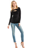 LORI LONG SLEEVE TOP (BLACK)-VT2463