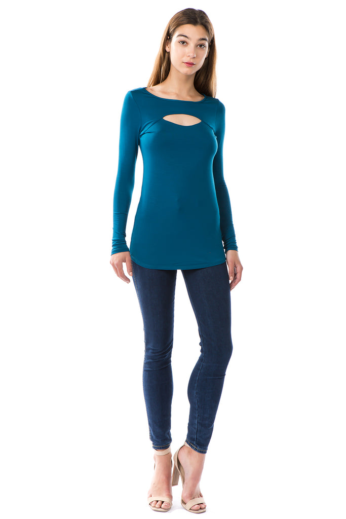 LORI LONG SLEEVE TOP (TEAL)-VT2463