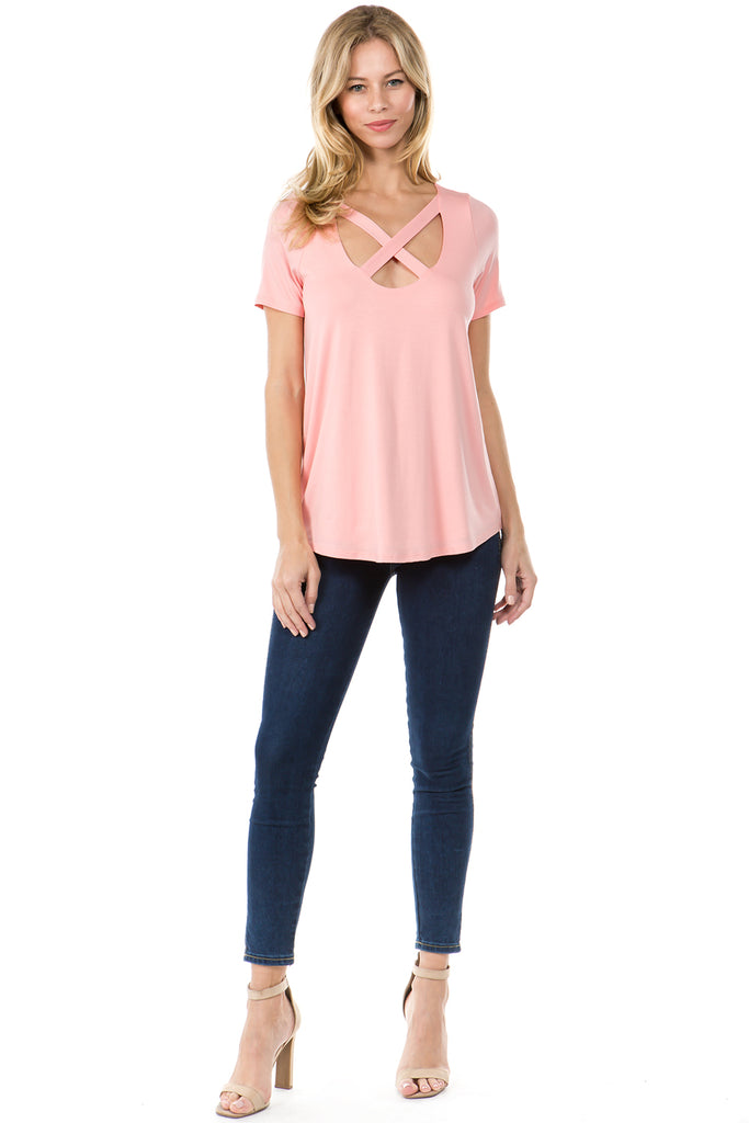 OTTILIE CROSS FRONT TOP (CORAL)- VT2469