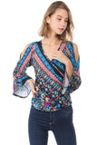 EDEN WRAP TOP (BLACK MULTI)- VT2486