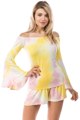AMY OFF SHOULDER TOP (PINK/YELLOW TIE DYE)- VT2492T