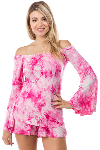 AMY OFF SHOULDER TOP (FUSCHIA TIE DYE)- VT2492T