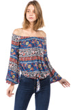 ALIVIA OFF SHOULDER TOP (MULTI)- VT2500