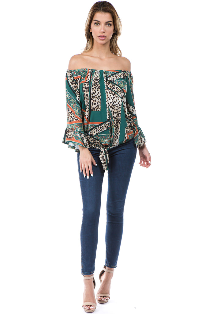 LIVIA OFF SHOULDER TOP (GREEN MULTI)- VT2509-LIVIA