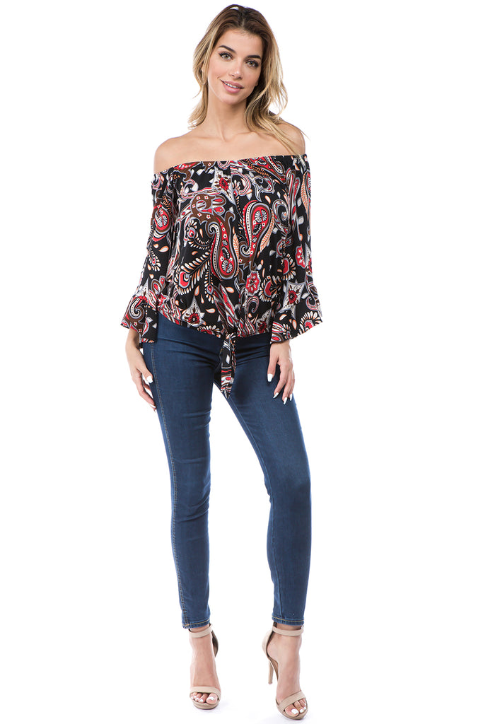 ROCCO OFF SHOULDER TOP (BLACK MULTI)- VT2509-ROCCO