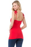 ELENA SHOULDER TIE CAMI (RED)- VT2523