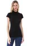 ELENA TURTLE NECK TOP (BLACK)- VT2524