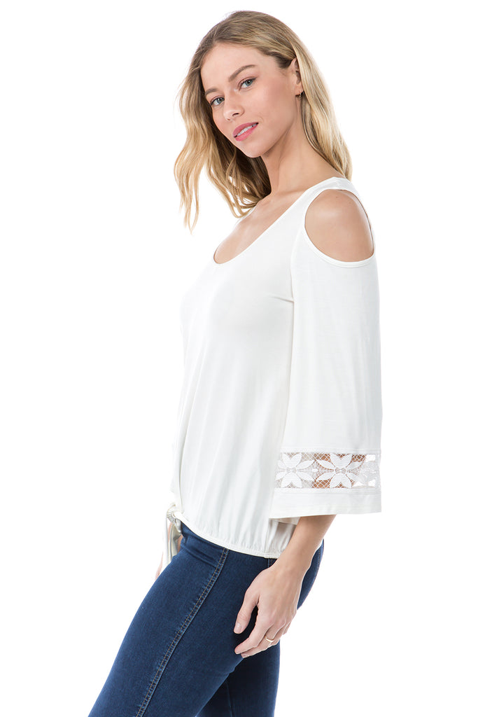 FAYE COLD SHOULDER TOP (IVORY)- VT2533