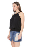 FAYE BACK TIE TOP (BLACK)- VT2536