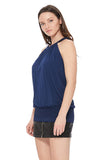FAYE BACK TIE TOP (NAVY)- VT2536