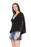 LOUISA BELL SLEEVE TOP (BLACK)-VT2540