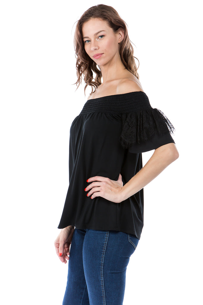 LACY SHORT SLEEVE TOP (BLACK)-VT2544