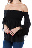 LACY BELL SLEEVE TOP  (BLACK)-VT2549