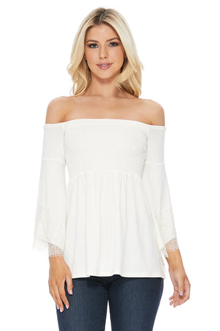 LACY BELL SLEEVE TOP  (IVORY)-VT2549