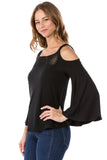 LACY 2 BELL SLEEVE CROCHET TOP  (BLACK)- VT2562