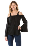 MIRA  OFF SHOULDER TOP (BLACK)-VT2570