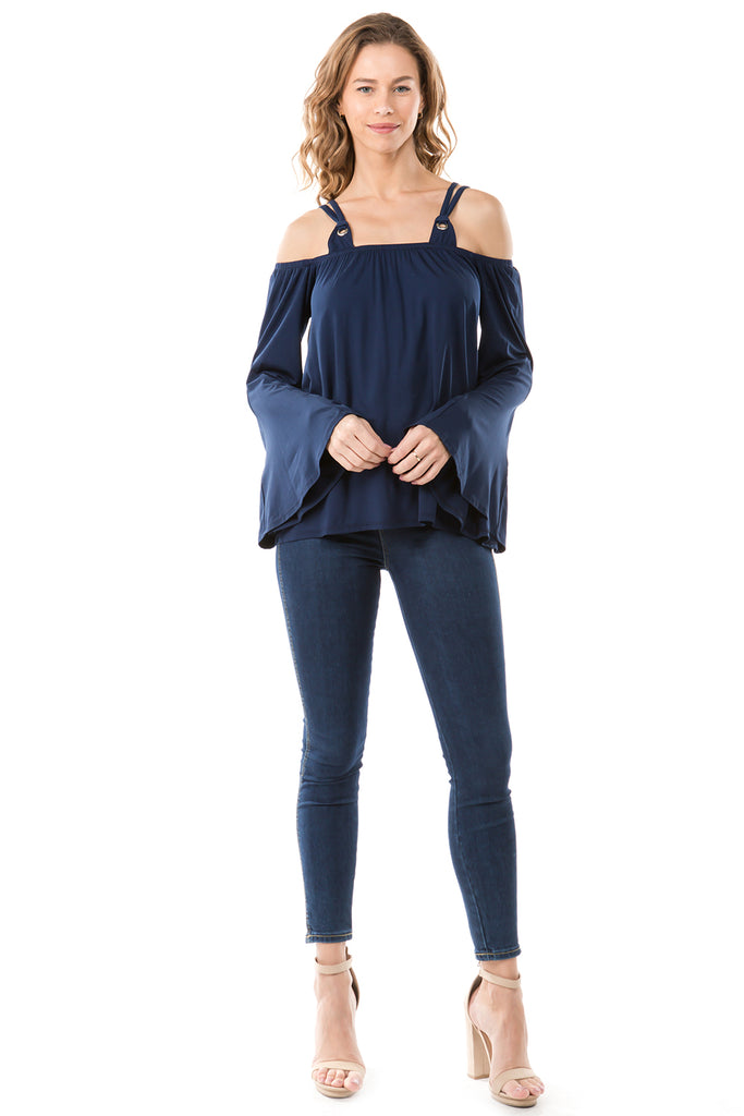 MIRA  OFF SHOULDER TOP (NAVY)-VT2570