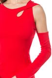 ROXY TWIST SHOULDER STRAP TOP (RED)- VT2577