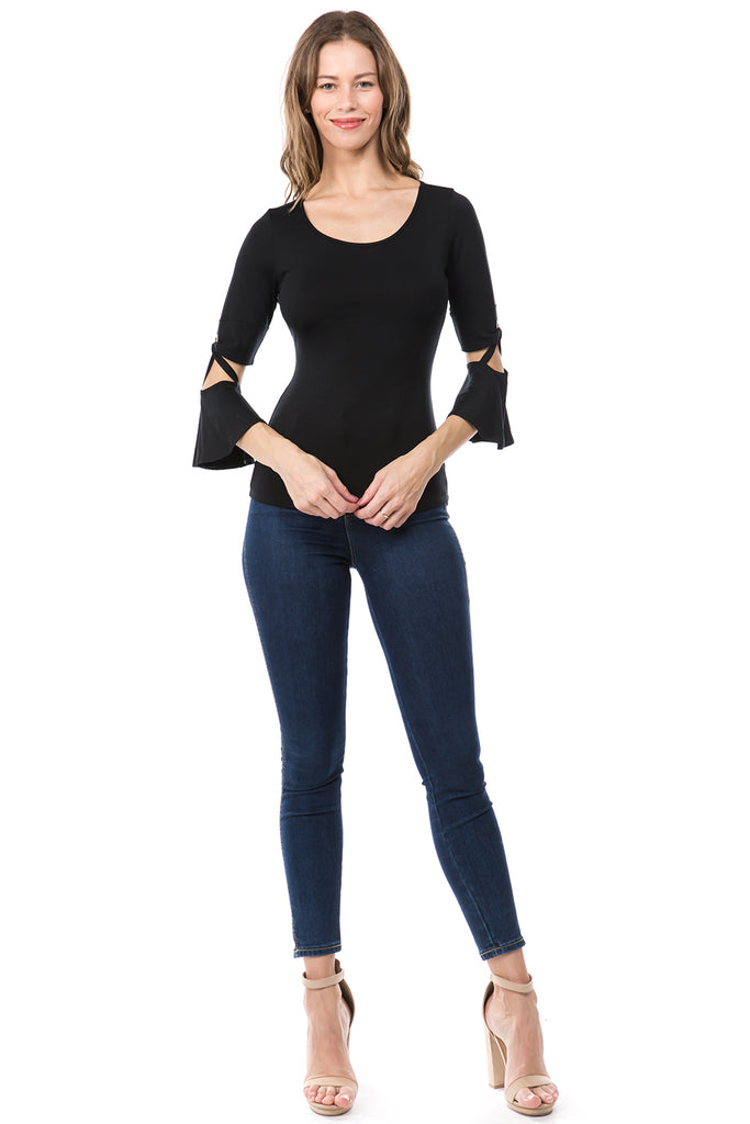 ROXY BELL SLEEVE TOP (BLACK)- VT2579