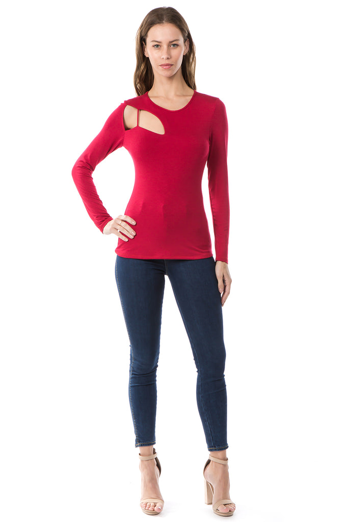 FLONA ONE BRA LONG SLEEVE TOP (RED)- VT2580