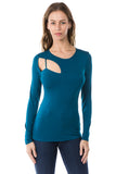 FLONA ONE BRA LONG SLEEVE TOP (TEAL)- VT2580